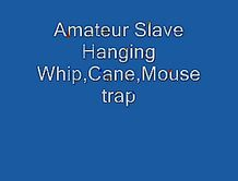 Mature amateur slave whip and cane hanging